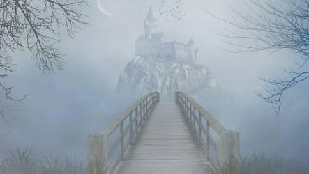 Fog sky tree mist castle fantasy art gothic bridge footbridge misty HD wallpaper Wallpaperbetter