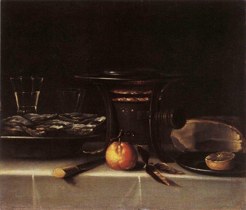 Réchaud , plat d'huîtres et verre de vin, hst , 54,5 x 64cm - collection particulière