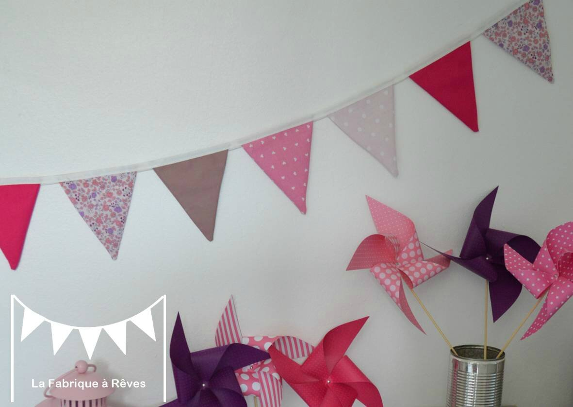 guirlande fanions rose violet mauve dcoration chambre enfant bb fille  Photo de Ralisations
