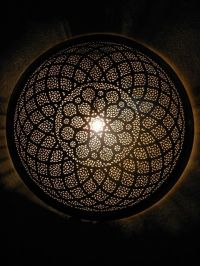 Moroccan Nickel silver ceiling lamp, pendant light with ...
