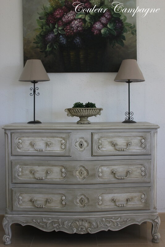 Commode Patine Style Louis XV Couleur Campagne