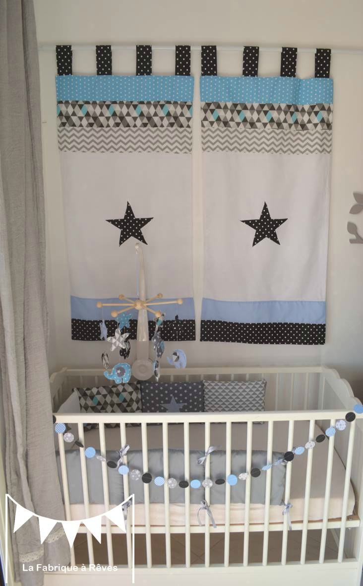 chambre enfant bebe bleu gris noir