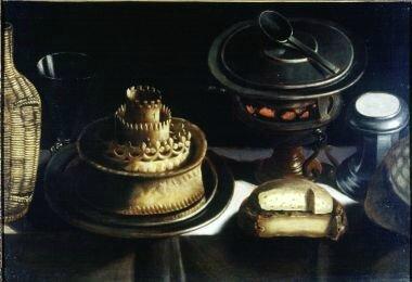 Stoskopff, la fondue où fête des Rois , hst 50,8 x 70,5cm , Indiana University Art Museum don doct henru Hope 1963