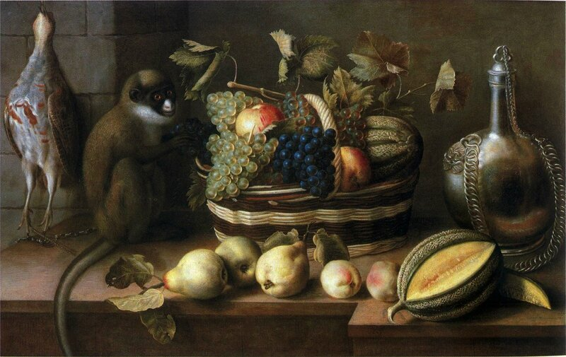 Panier de fruits , singe , perdrix , hst , signée 1629 , 57,6 x 92,5cm - collection privée