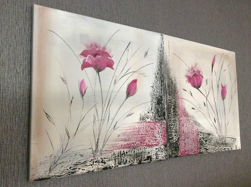 tableau bouquet de fleurs moderne une trompe l 39 oeil. Black Bedroom Furniture Sets. Home Design Ideas