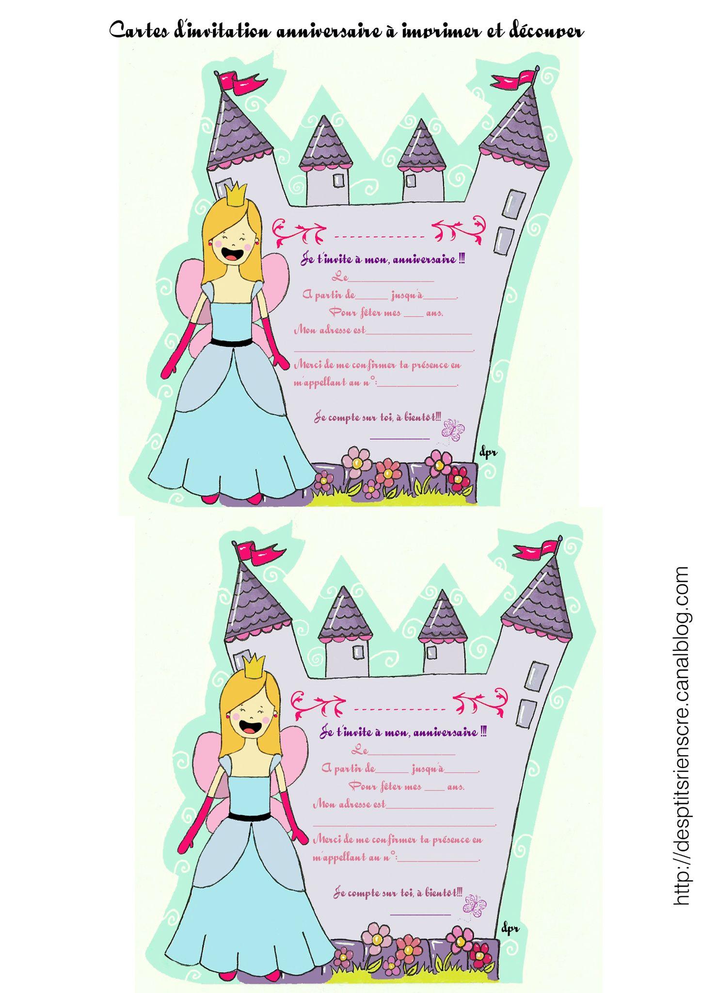 invitation anniversaire princesse