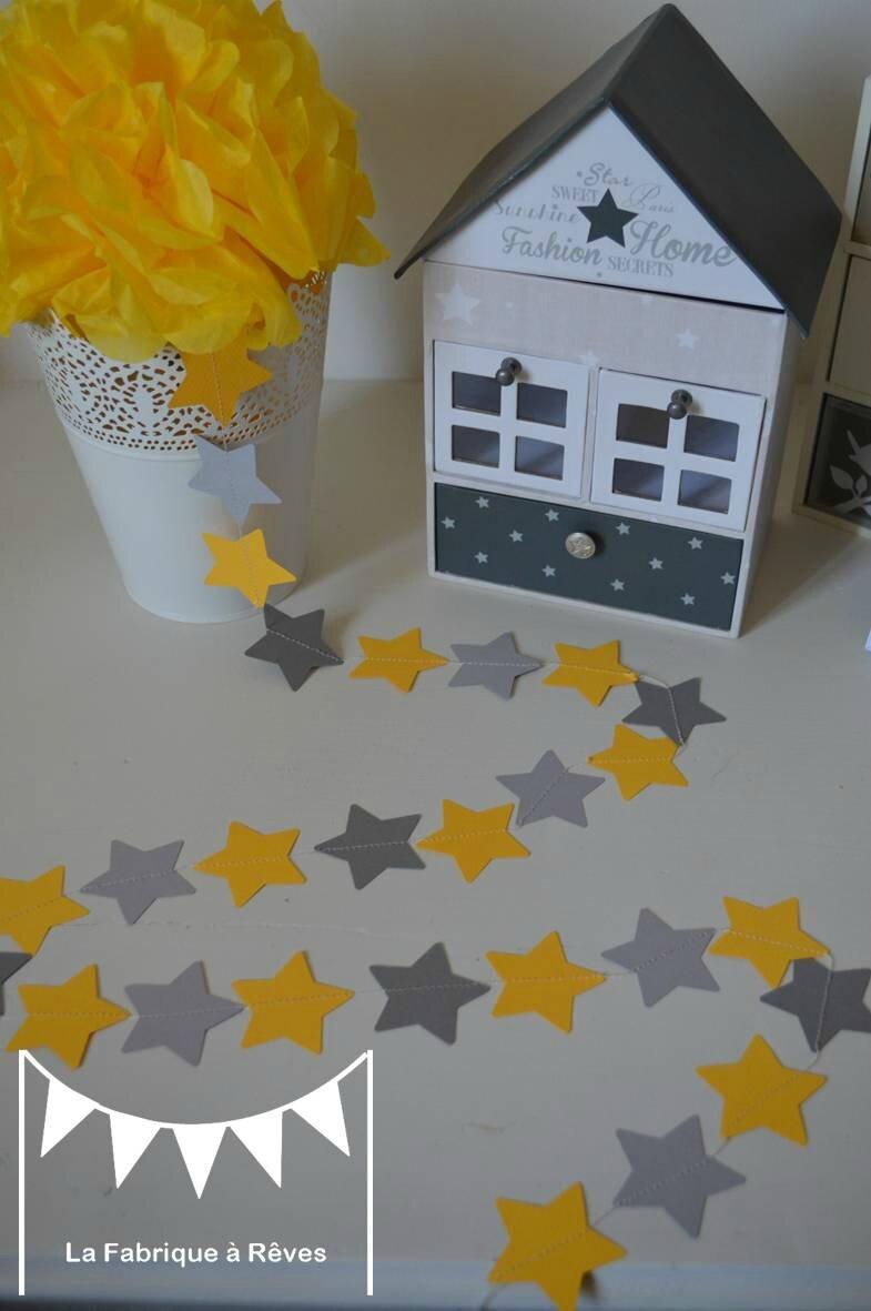 guirlande toiles cousues papier carton gris jaune toile dcoration chambre enfant bb garon