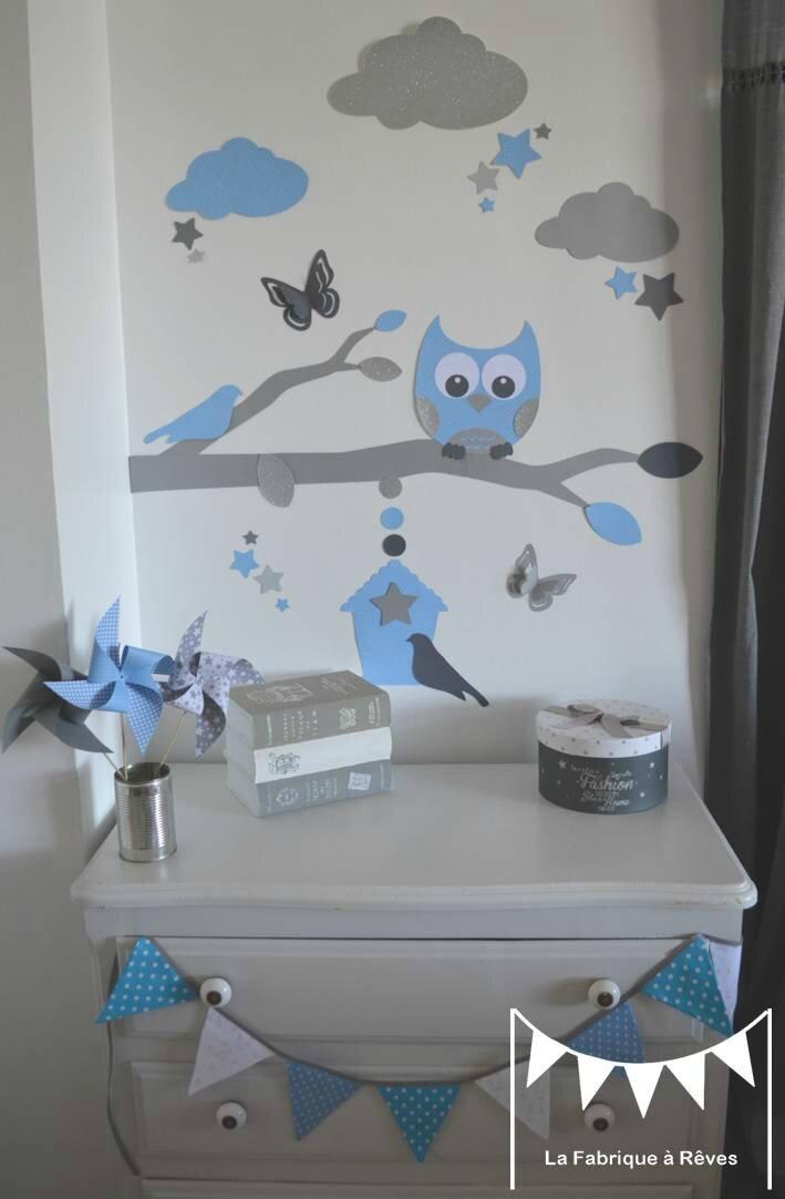 stickers bleu ciel gris argent dcoration chambre enfant garon bb branche cage  oiseau hibou