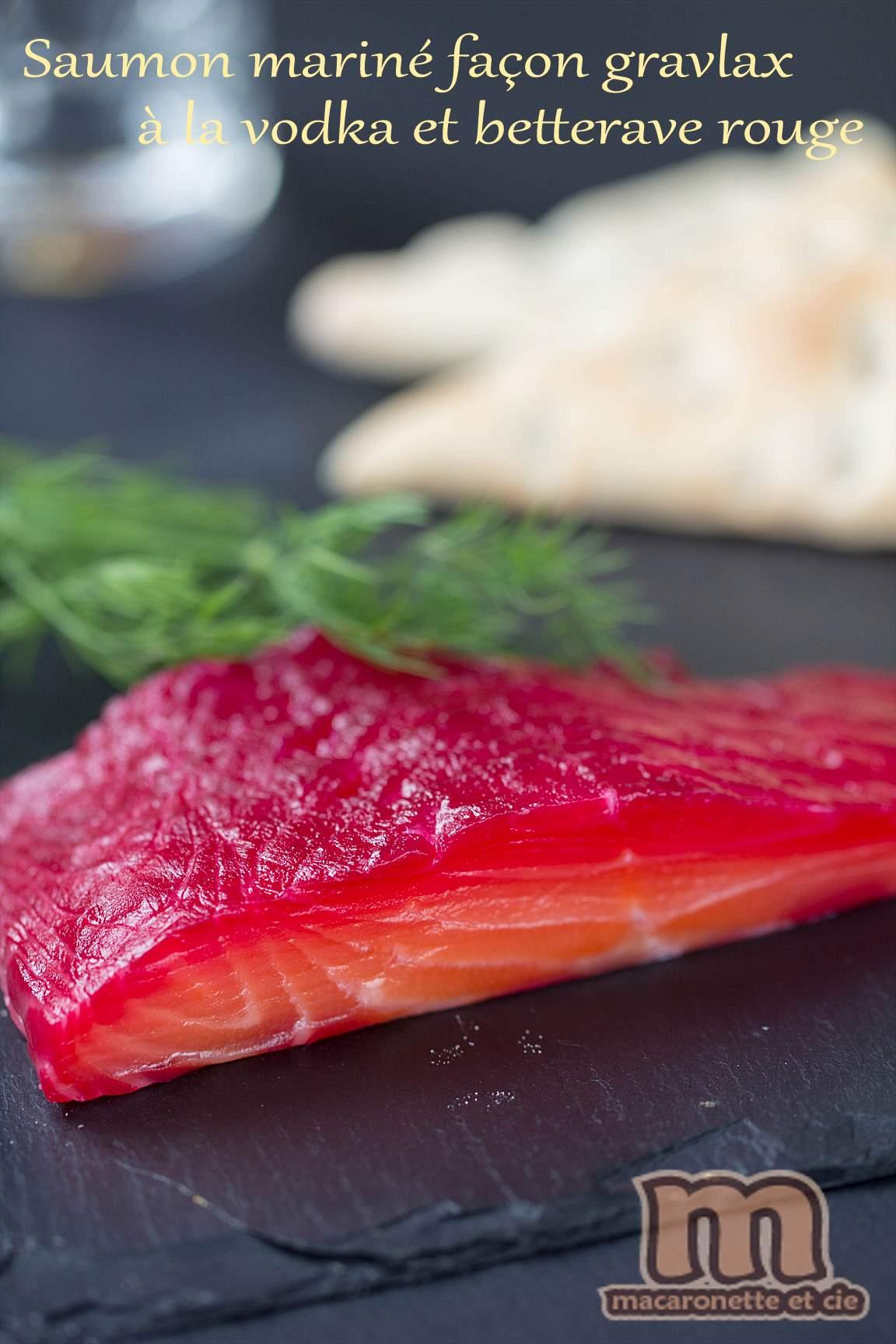 Saumon marin faon gravlax  la vodka et betterave rouge