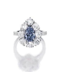 Fancy Deep Blue Diamond and Diamond Ring - Alain.R.Truong