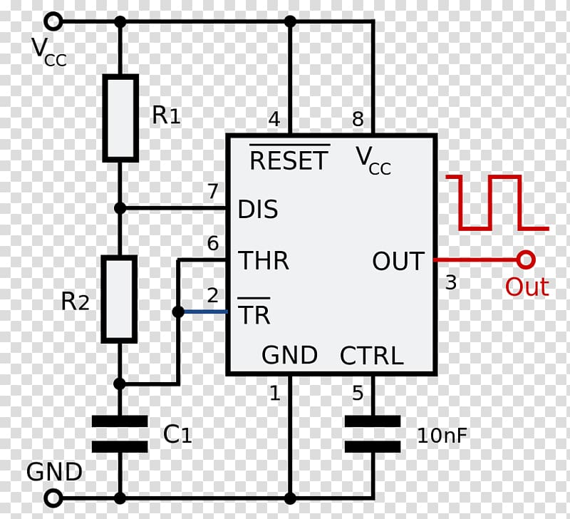 555 timer IC Electronic circuit Astable multivibrator