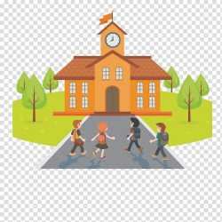Children walking and facing in front of school Student School Cartoon Illustration School story transparent background PNG clipart HiClipart