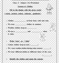 Worksheet Clothing Class First grade Lesson [ 1036 x 800 Pixel ]
