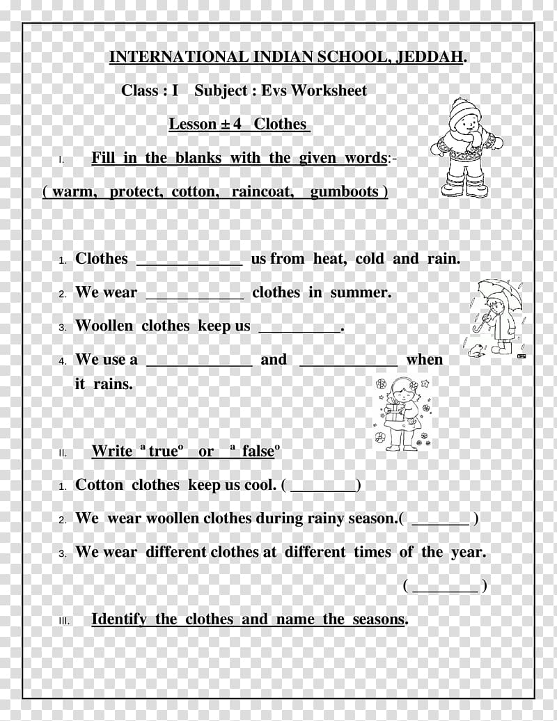 hight resolution of Worksheet Clothing Class First grade Lesson