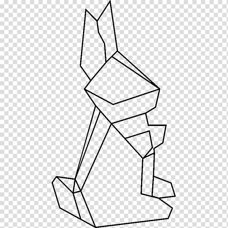 Geometry Harlequin rabbit Line Drawing, rabbit transparent
