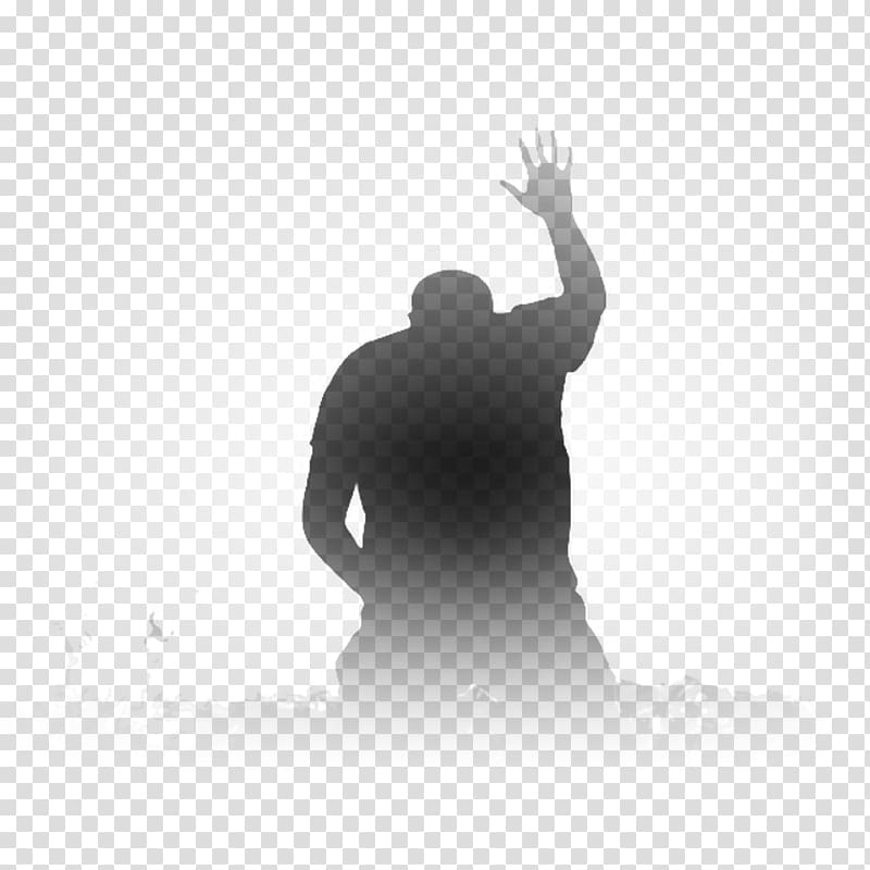 Silhouette of person raising right hand illustration
