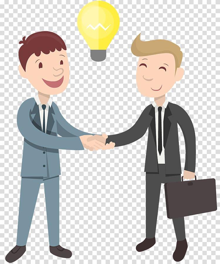 Two men handshaking illustration. Handshake Cartoon Businessperson. shake hands transparent background PNG clipart | HiClipart