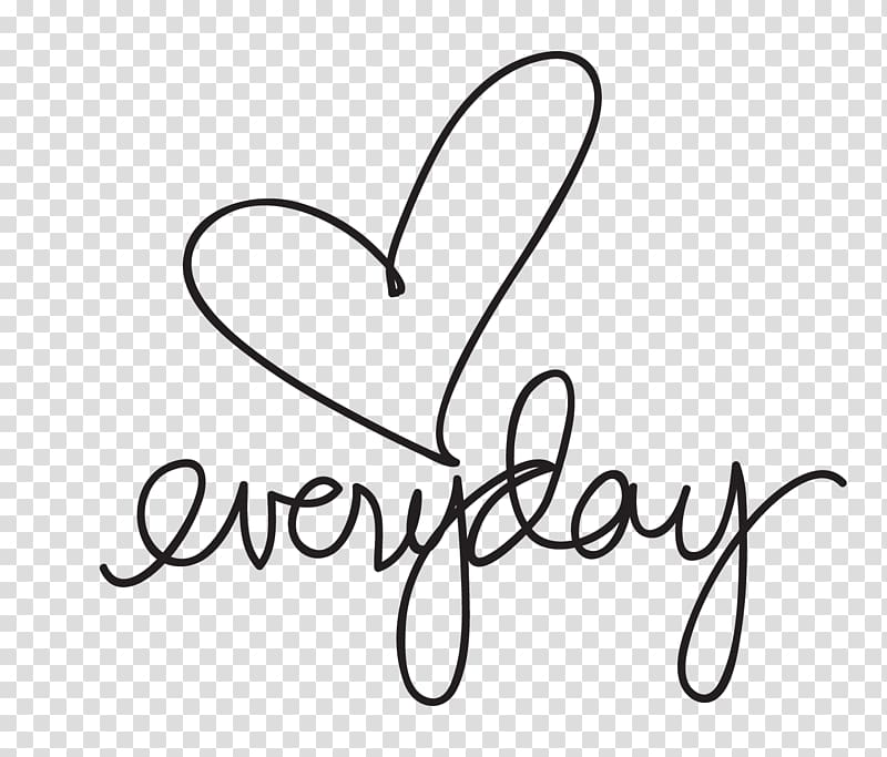 Download Heart with everyday text, Love Drawing Cursive Lettering ...