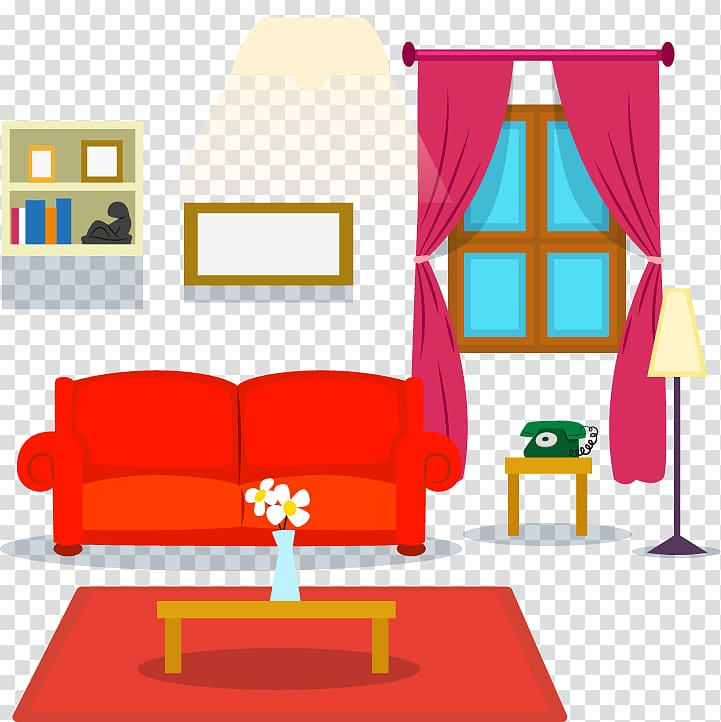 Table Living Room Couch Cartoon Hand Painted Living Room Sofa Table Element Transparent Background Png Clipart Hiclipart