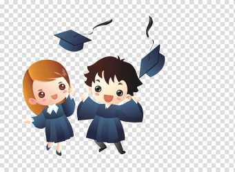Girl and boy graduates sticker Creative People student Cartoon transparent background PNG clipart HiClipart