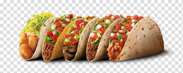 Five tacos Fast food restaurant Taco Bell Hamburger mexican food transparent background PNG clipart HiClipart