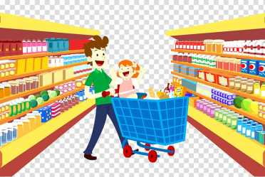 Man pushing cart in convenience store illustration Grocery store Supermarket Cartoon Shopping bag Supermarket shopping transparent background PNG clipart HiClipart