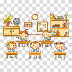 Three children s Student Classroom Cartoon School children transparent background PNG clipart HiClipart