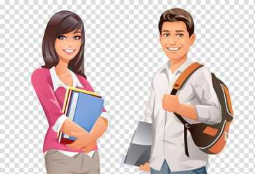 Male and female cartoon college students transparent background PNG clipart HiClipart