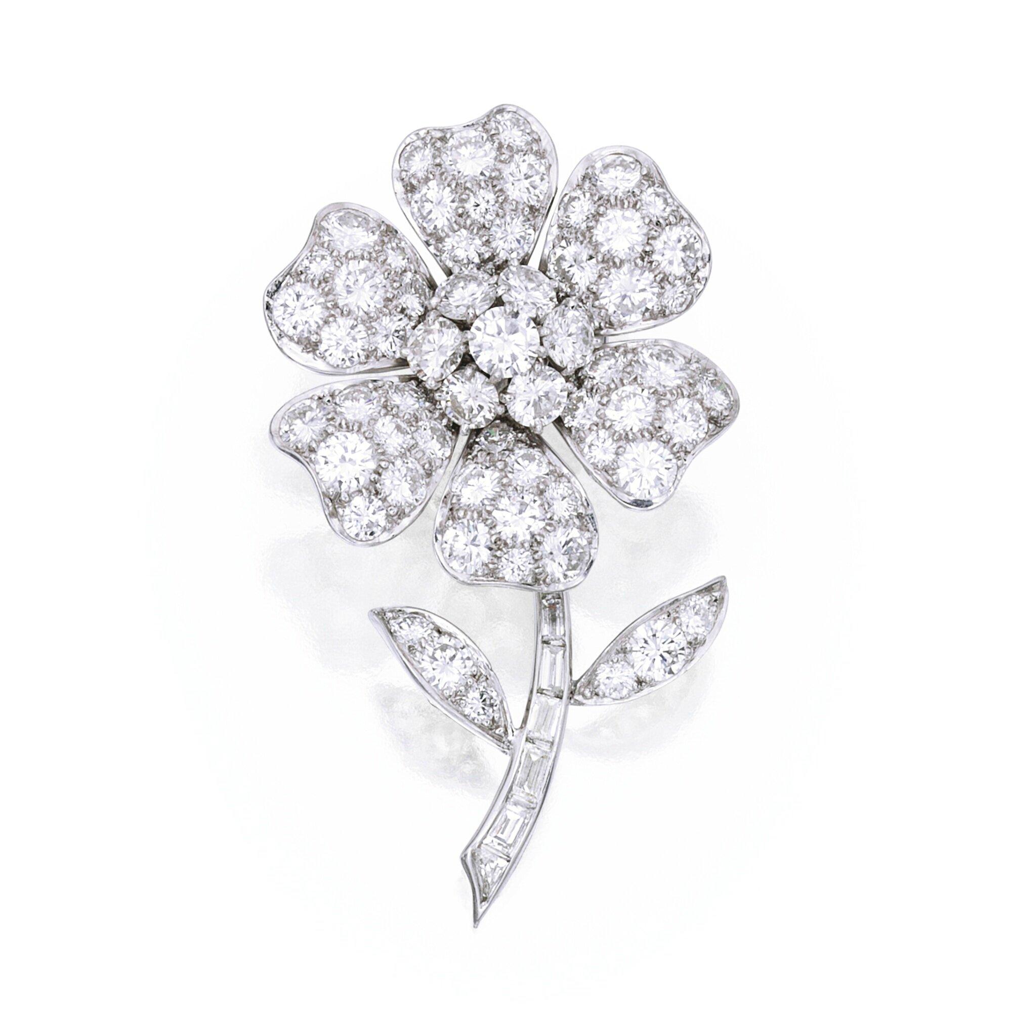 Platinum And Diamond Pavot Brooch Van Cleef Amp Arpels