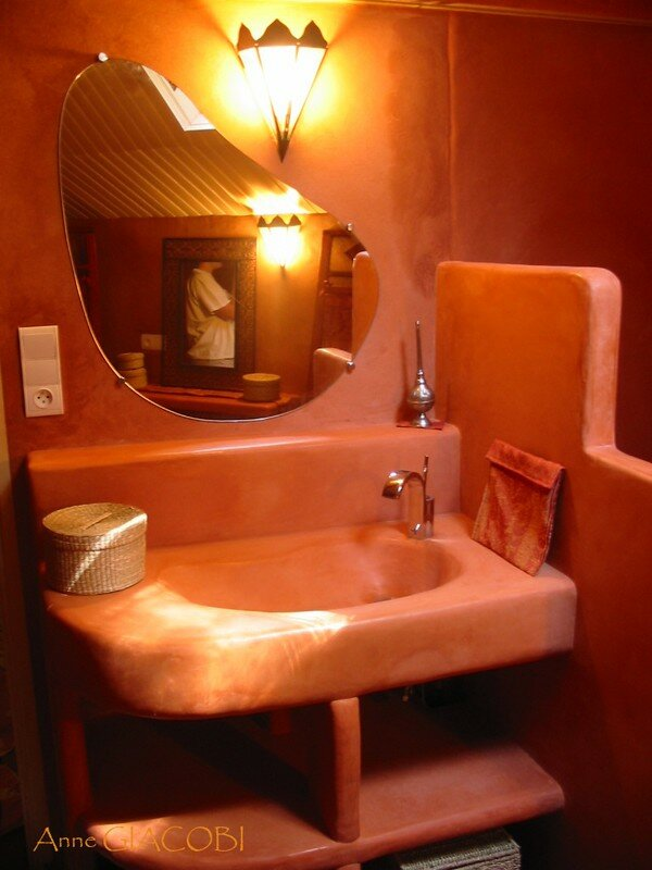 Meuble Vasque Et Tagres En Tadelakt Photo De Salle De
