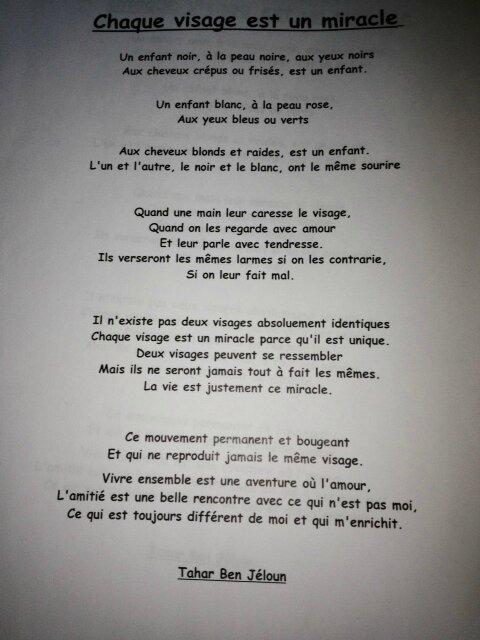 Chaque Visage Est Un Miracle : chaque, visage, miracle, Correspondance, Classe, L'Algérie, école, Sacré, Coeur, Loué, (Sarthe)