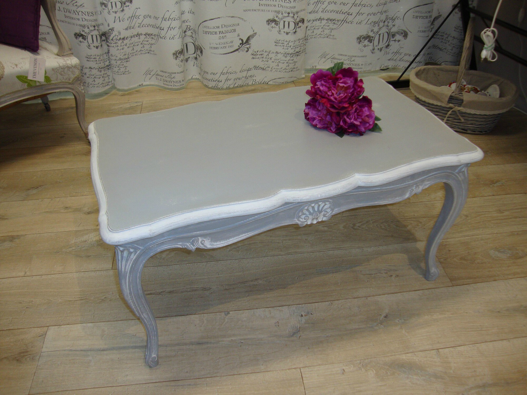 table basse style louis xv patine grise