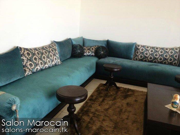 Salon marocain bleu roi exceptionnel  Salon marocain moderne