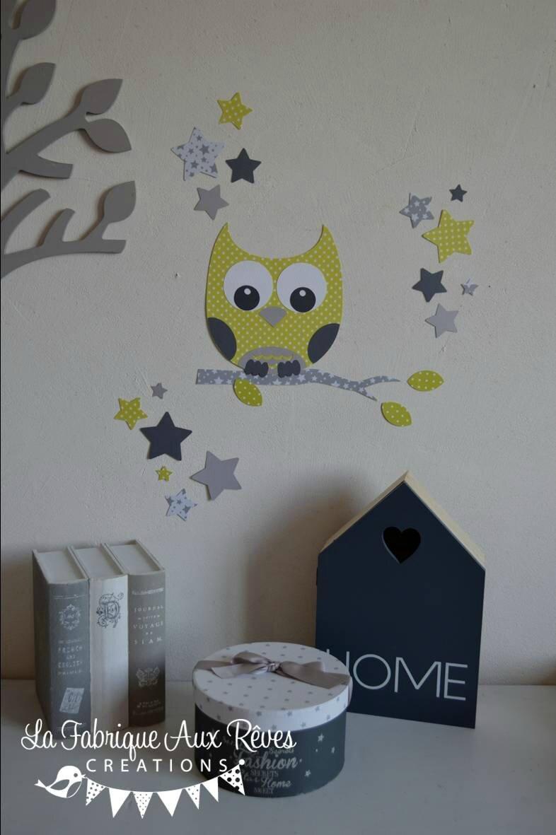 stickers dcoration chambre enfant bb hibou chouette toiles vert anis gris fonc gris clair