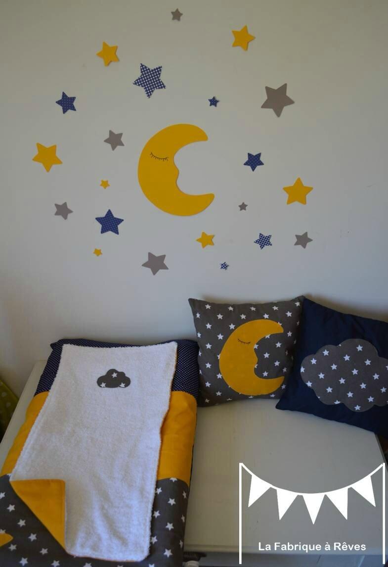 Dcoration Chambre Bb Toiles Nuages Lune Jaune Bleu