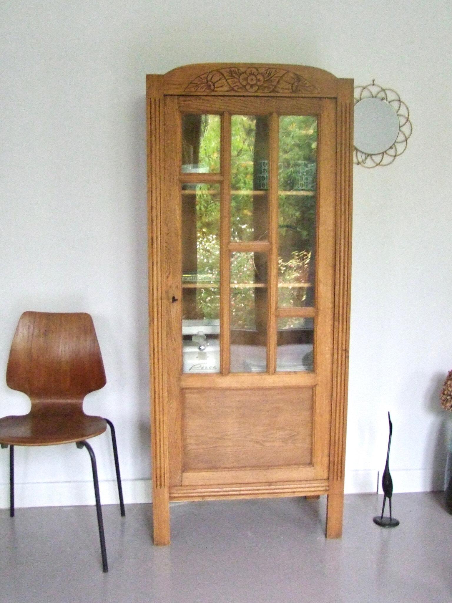 armoire semi vitree ancienne noyer