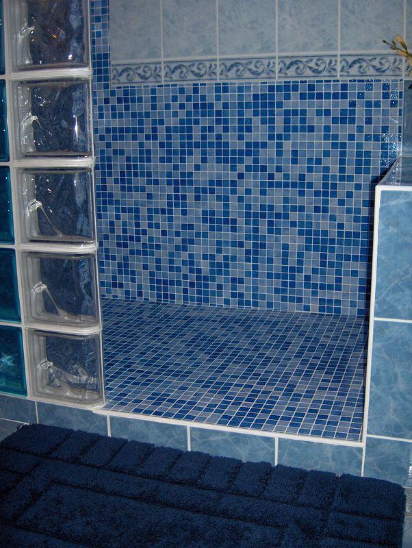 douche mosaque et pavs de verre 2  Photo de salles de bain  Amlioration Breizh Logement