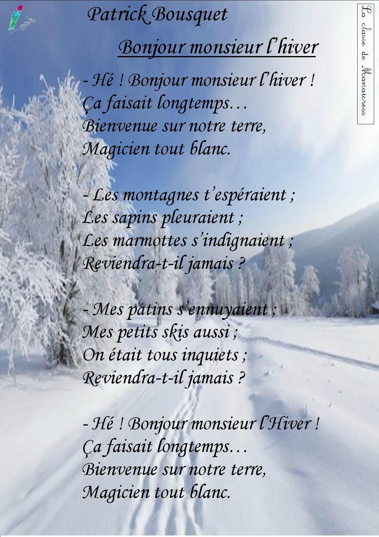 Bonjour Monsieur L Hiver Poésie : bonjour, monsieur, hiver, poésie, Poésies, L'hiver,, Noël, Classe, Mamaicress