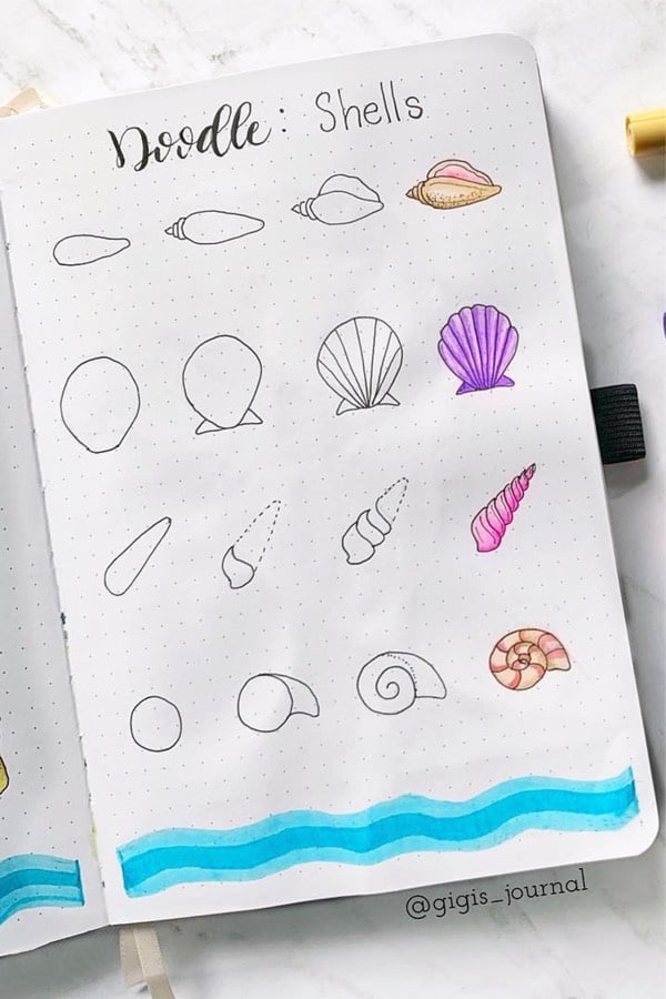 Easy Seashell Drawing : seashell, drawing, Ocean, Doodles, Bullet, Journals, Crazy, Laura