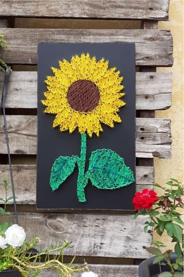 Sunflower String Art : sunflower, string, String, Ideas, Patterns, Crazy, Laura