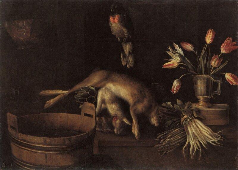 gibier et perroquet, hst 105 x 146cm , collection particulière