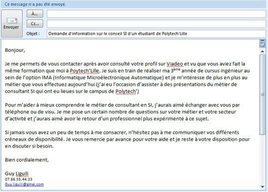 mail pour envoyer un cv exemple