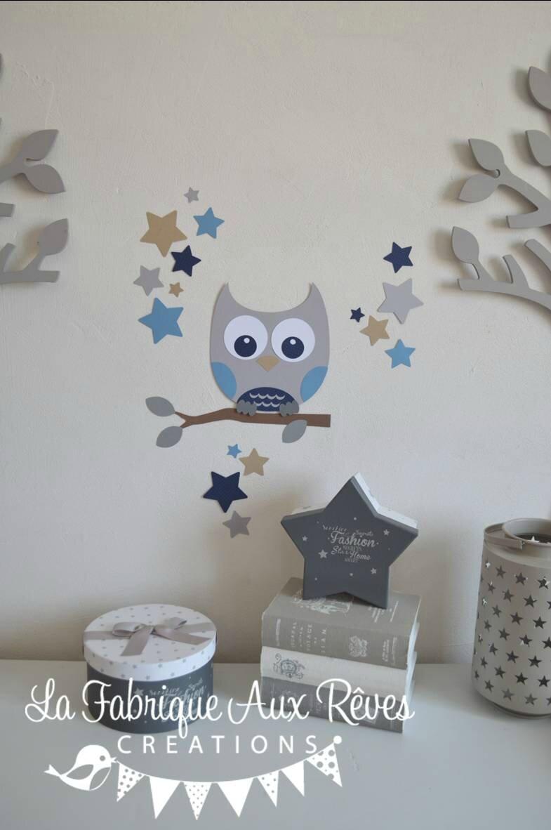 stickers dcoration chambre enfant garon bb branche hibou toiles bleu clair bleu marine