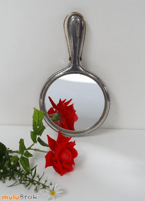 Vintage Ancien Miroir Main Mtal Argent