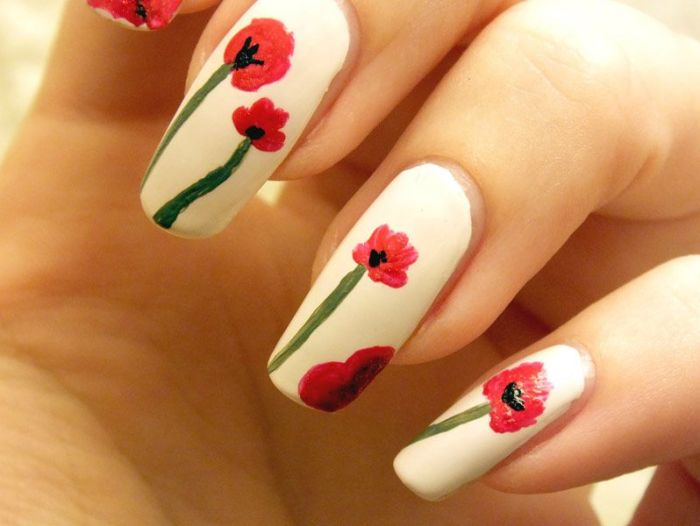 nail-art-kenzo-flower-in-the-air-eyes-lips-face-elf-blanc-kiko-red-hop-chili-pepper-revlon-ongles-longs-naturels-coquelicots-poppies