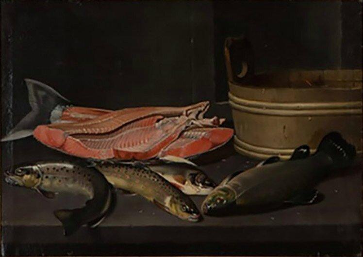 attr à Truites, saumon en tranches et baquet , hst , 61 x 80cm - Vt 29