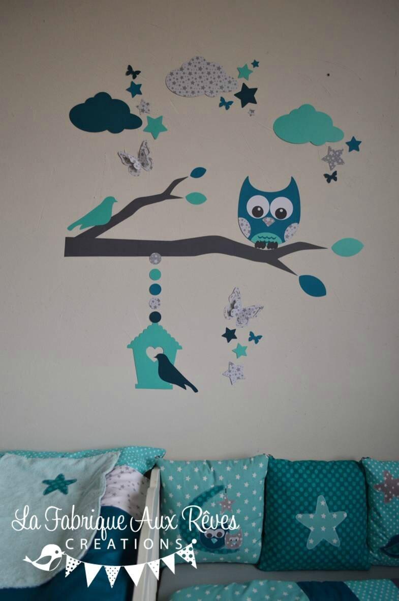 stickers hibou chouette dcoration chambre enfant bb garon toiles ptrole turquoise carabe