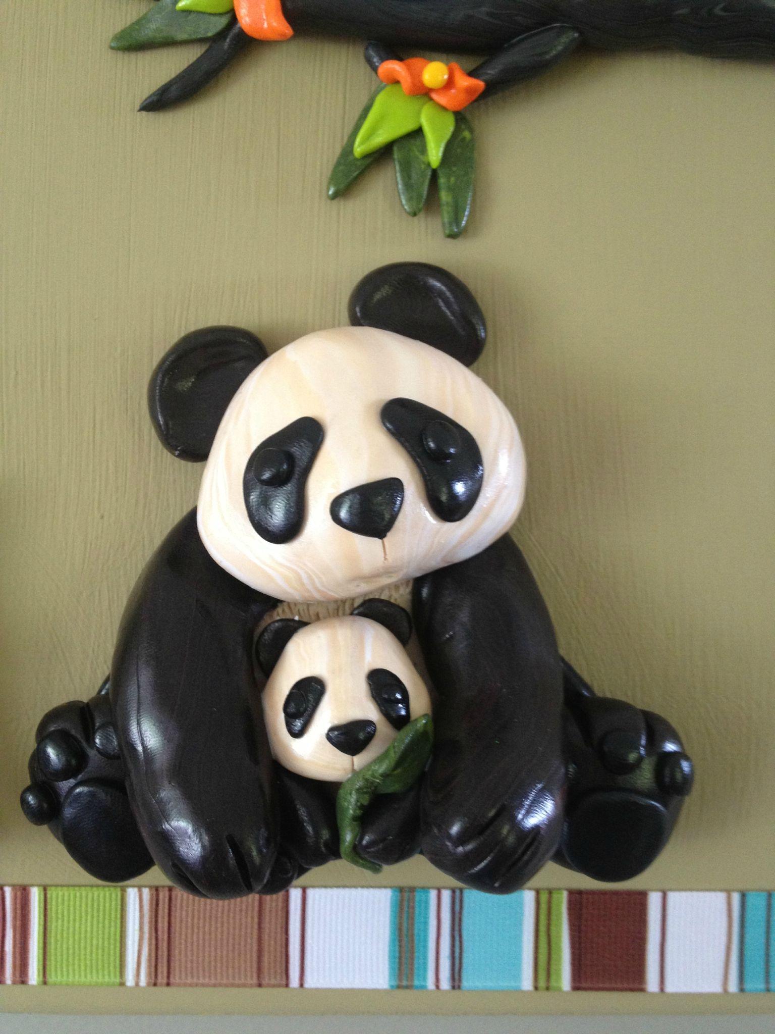 Cadre bb panda et sa maman  Les RCrations de KTI