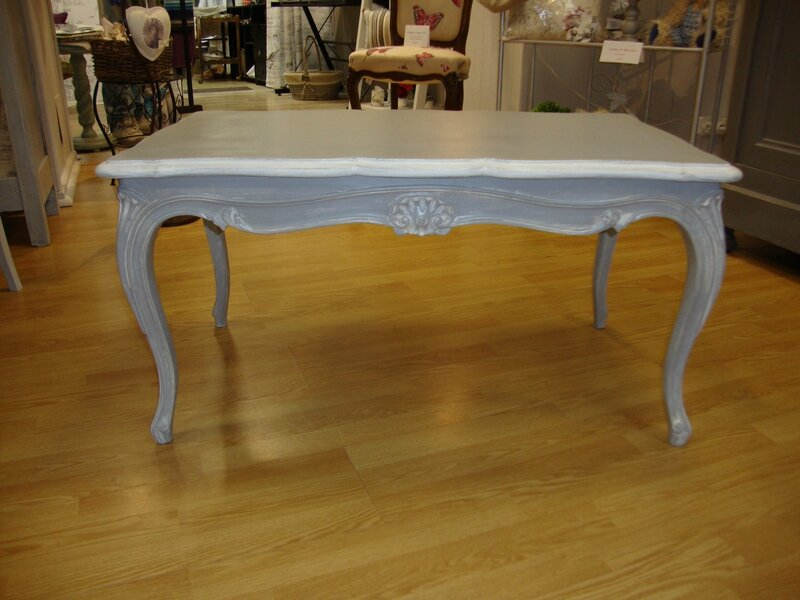 Table Basse Style Louis XV Patine Grise Krative Dco