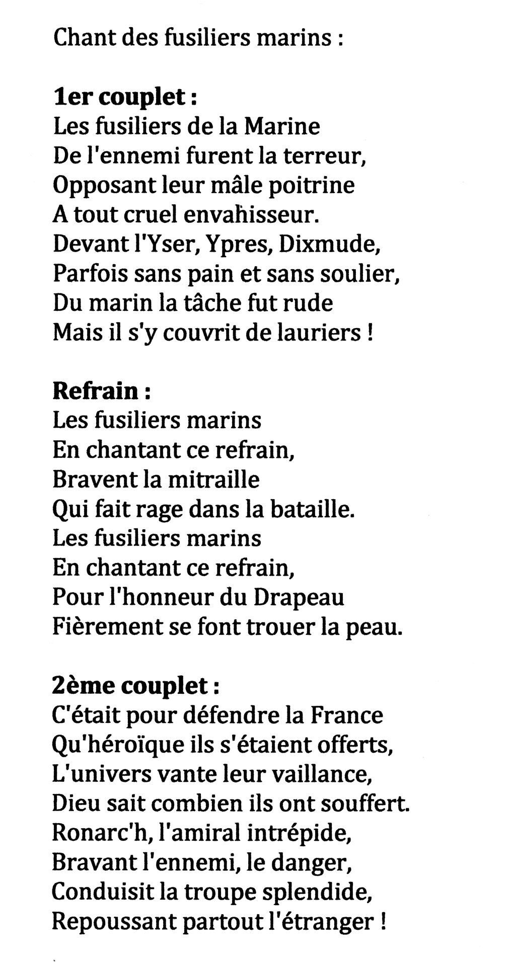 Pour La France En Danger : france, danger, Chansons, Fusiliers, Marins, Commandos, Marine